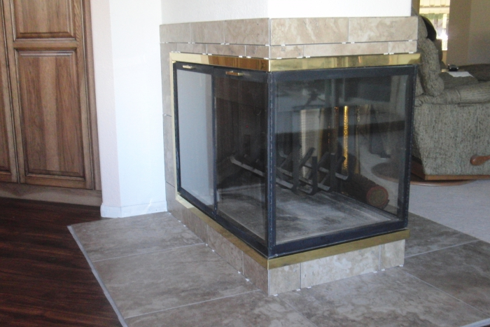 I have an existing wood burning peninsula 3 sided fireplace and I am unable  to convert to gas. Is there such a thing as an electric insert that could  go ... - See Through Gas Fireplace, Island, & Free Standing Fireplaces